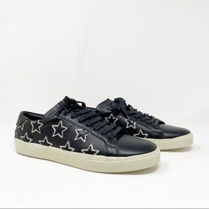SAINT LAURENT black leather star sneakers new